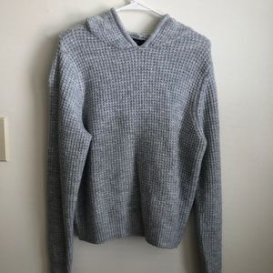 Forever 21 Hooded Knit Sweater (Grey)